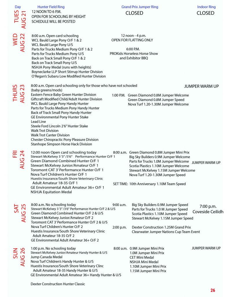 2018 Coveside Classic Schedule